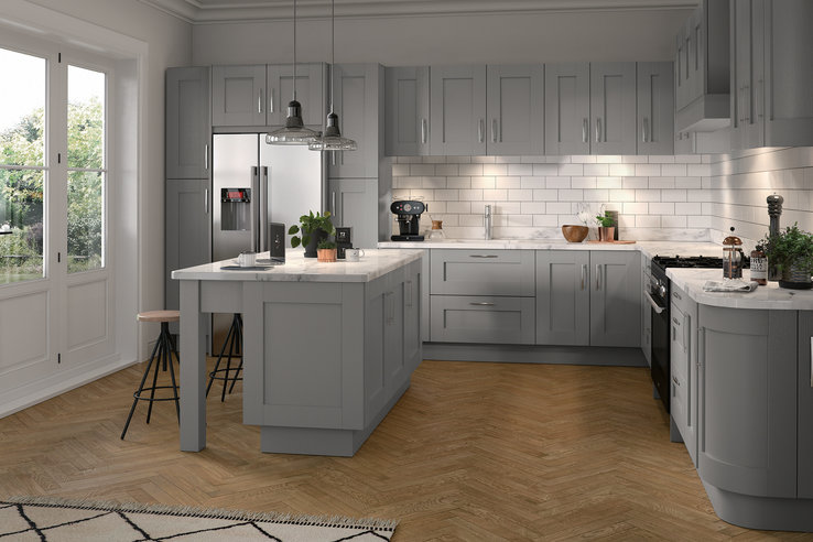 Grey Kitchen Dartmouth dust grey display workington